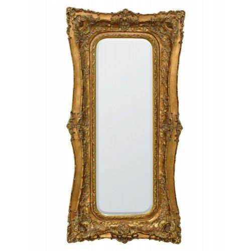 Rosetti Baroque Gold Gilt Leaf Floor Standing Bevelled Mirror - W90  x H180cm